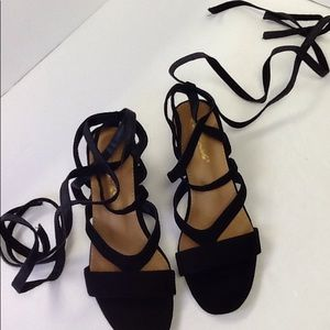 Shoes - Wrap Around Suede Chunk Heel EUR40